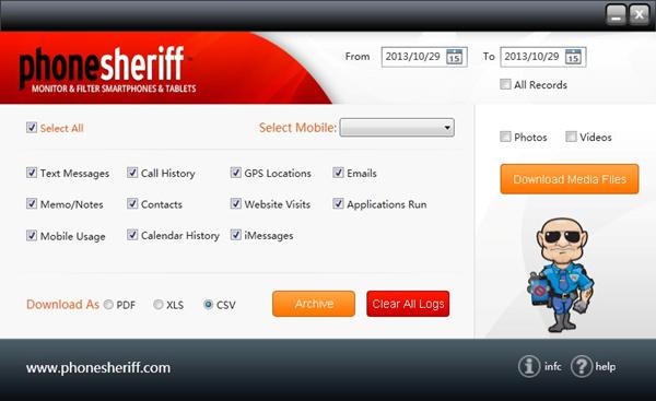 phonesheriff archive desktop application