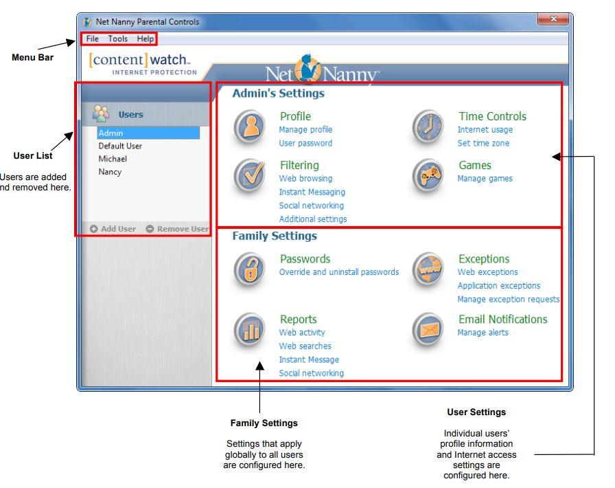 net nanny interface